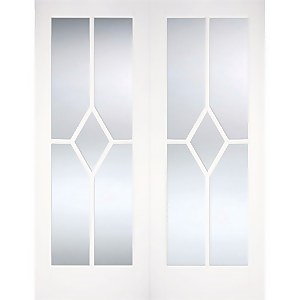 Reims Internal Glazed Primed White 5 Lite Pair Doors - 1220 x 1981mm