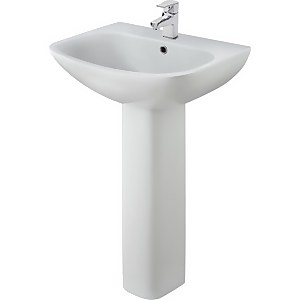 Balterley Faron 1 Tap Hole Basin and Full Pedestal - 545mm