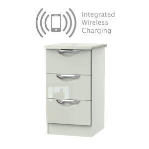 Portofino Kaschmir Gloss 3 Drawer Bedside Cabinet - Rechargeable
