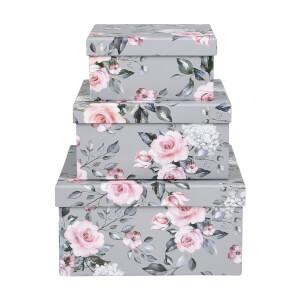 Floral Cardboard Storage Boxes - Set of 3
