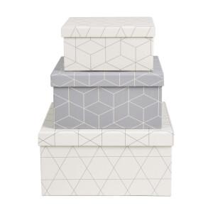 Geometric Cardboard Storage Boxes - Set of 3