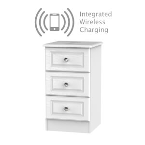 Florence White Ash 3 Drawer Bedside Cabinet - Rechargeable