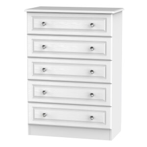 Florence White Ash 5 Drawer Chest
