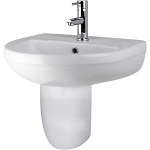 Balterley Vision 1 Tap Hole Basin and Semi Pedestal - 500mm