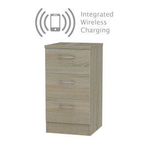 Amalfi Darkolino 3 Drawer Bedside Cabinet - Rechargeable