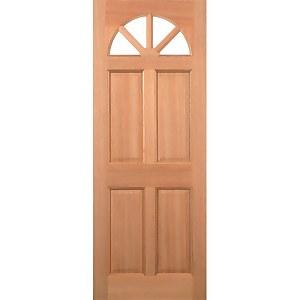 Carolina External Glazed Unfinished Hardwood 4 Lite 4 Panel Door - 838 x 1981mm