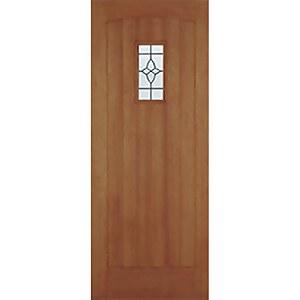 Cottage External Glazed Unfinished Hardwood 1 Lite Door - 2082 x  864 mm