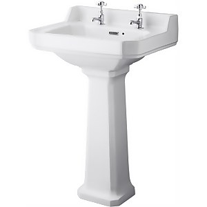 Balterley Harrington 2 Tap Hole Basin and Pedestal - 560mm