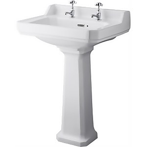 Balterley Harrington Comfort Height 2 Tap Hole Basin Pedestal - 600mm