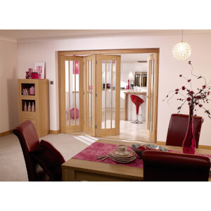 NuVu Roomfold Internal Unfinished 3 + 1 Oak Folding Sliding Door Kit - 2816 x 2078mm