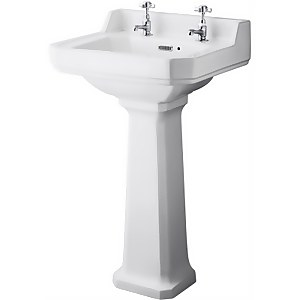 Balterley Harrington Comfort Height 2 Tap Hole Basin Pedestal - 500mm