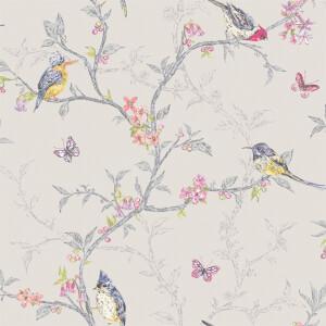 Holden Decor Phoebe Birds Smooth Metallic Dove Grey Wallpaper