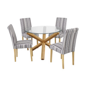 Oporto 4 Seater Dining Set - Lorenzo Dining Chairs