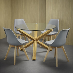 Oporto 4 Seater Dining Set - Louvre Dining Chairs - Grey