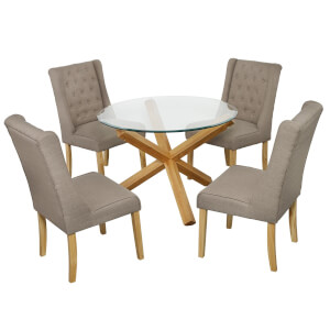 Oporto 4 Seater Dining Set - Verona Dining Chairs - Beige