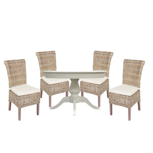 Holywell 4 Seater Dining Set - Antique White & Wicker