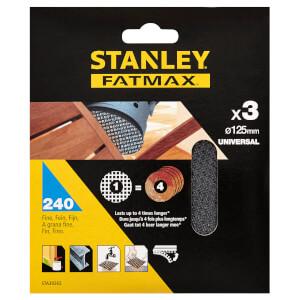 STANLEY FATMAX - 3x 240g Quick Fit Random Orbital Sanding Mesh Discs 125mm