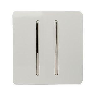 Trendi Switch 2 Gang 2 Way 10 Amp Rocker Light Switch in Screwless White