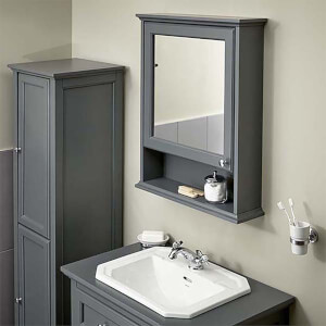 Bathstore Savoy Mirror Wall Cabinet - Grey