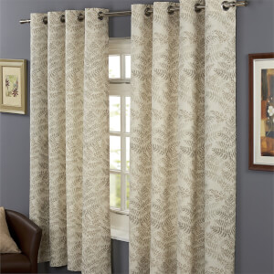 Hedgerow Lined 100% Cotton Eyelet Curtains 46x54 -  Natural