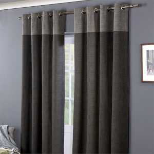 Oslo 100% Cotton Eyelet Curtains 46 x 54 - Charcoal