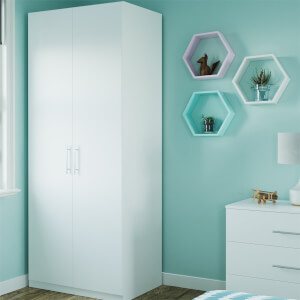 Modular Bedroom Slab Double Wardrobe - White