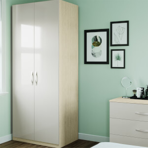 Modular Bedroom Slab Double Wardrobe - Cashmere