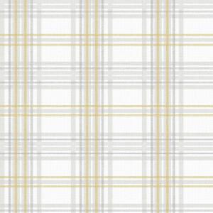 Superfresco Easy Country Tartan Grey & Yellow Wallpaper