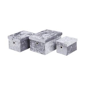 Velvet Storage Boxes - Grey - Set of 3