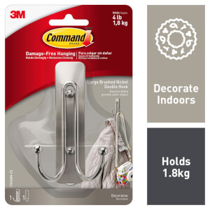 Command Large Brushed Nickel Double Hook