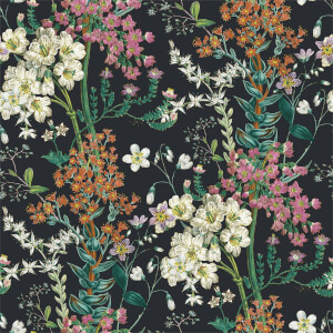 Holden Decor Ayana Floral Smooth  Black Wallpaper