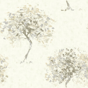 Holden Decor Beacon Fell Tree Smooth Metallic Beige Wallpaper