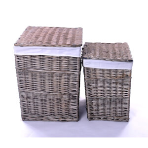 Square Wicker Laundry Baskets - Set of 2