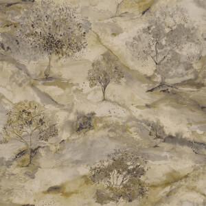 Holden Decor Ascadia Tree Textured Metallic Gold and Charcoal Wallpaper