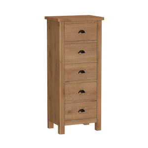 Newlyn 5 Drawer Narrow Chest of Drawers - Oak