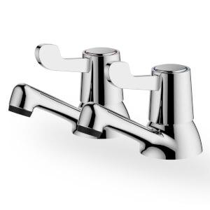 Talisker Lever Bath Pillar Taps - Chrome