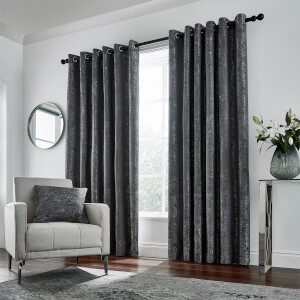 Peacock Blue Hotel Collection Roma Lined Curtains 90 x 72 - Gunmetal