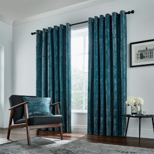 Peacock Blue Hotel Collection Roma Lined Curtains 90 x 72 - Emerald