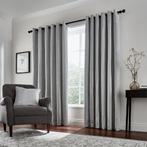Peacock Blue Hotel Collection Roma Lined Curtains 66 x 90 - Silver