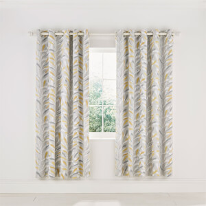 Sanderson Home Sea Kelp Lined Curtains 66 x 72 - Ochre