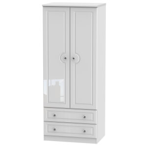 Stonehaven 2 Drawer Wardrobe - White