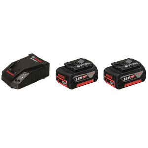 Bosch Pro 18V Starter Set, 2 x 4.0Ah Batteries + Charger