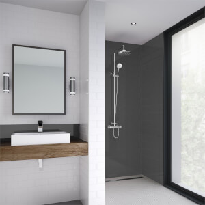 Wetwall Brushed Black - 1220mm - Shower Panel - Composite