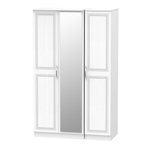 Milton Triple Mirror Wardrobe - White