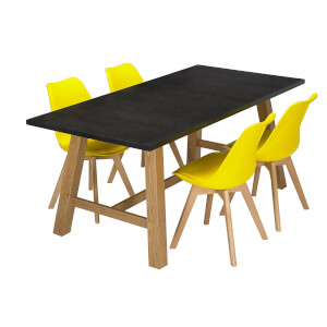 Brooklyn 4 Seater Dining Set - Louvre Dining Chairs - Yellow