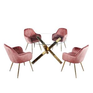 Capri 4 Seater Dining Set - Lara Dining Chairs - Pink