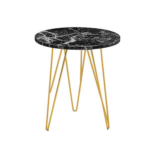 Fusion Lamp Table - Black Marble