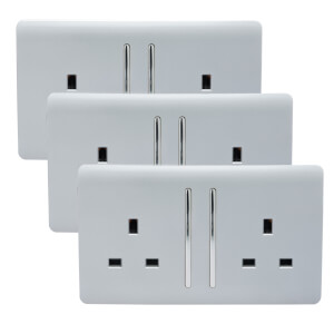 Trendi Switch 2 Gang 13 amp long switched Plug Socket in Screwless Silver (3 Pack)