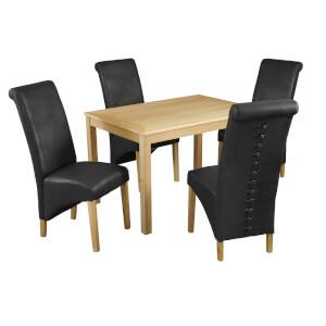 Oakridge 4 Seater Dining Set - Treviso Dining Chairs - Black