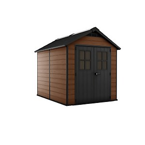 Keter Newton Outdoor Garden Storage Shed 7.5x9ft Brown
